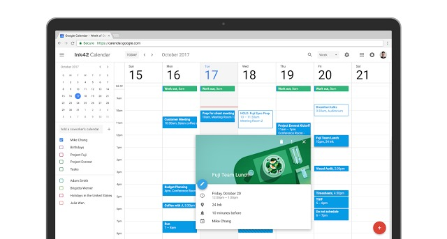 Nouvelle version de l'interface de Google Agenda 2017