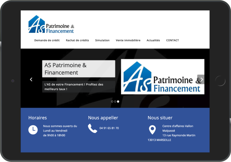 Site web as-pf.fr sur iPad